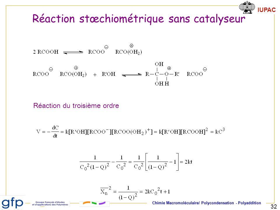 IUPAC Chimie Macromoléculaire/ Polycondensation - Polyaddition 32 Réaction du troisième ordre Réaction stœchiométrique sans catalyseur