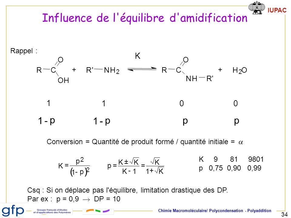 IUPAC Chimie Macromoléculaire/ Polycondensation - Polyaddition 34 1 - p 1 - ppp Conversion = Quantité de produit formé / quantité initiale = RC O OH R