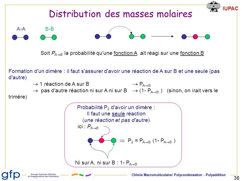 IUPAC Chimie Macromoléculaire/ Polycondensation - Polyaddition 36 Soit P A B la probabilité qu'une fonction A ait réagi sur une fonction B A-AB-B Form