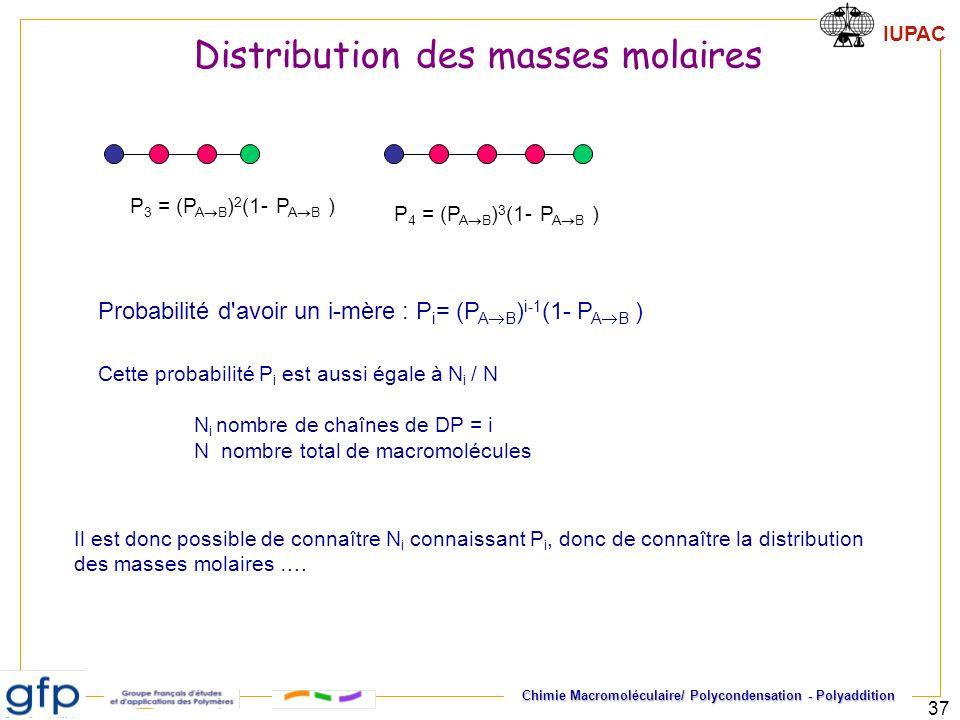 IUPAC Chimie Macromoléculaire/ Polycondensation - Polyaddition 37 P 3 = (P A B ) 2 (1- P A B ) P 4 = (P A B ) 3 (1- P A B ) Probabilité d'avoir un i-m
