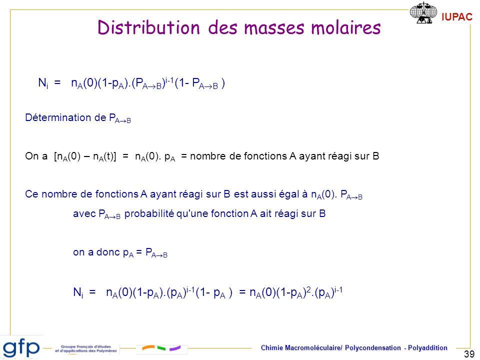 IUPAC Chimie Macromoléculaire/ Polycondensation - Polyaddition 39 Détermination de P A B On a [n A (0) – n A (t)] = n A (0). p A = nombre de fonctions