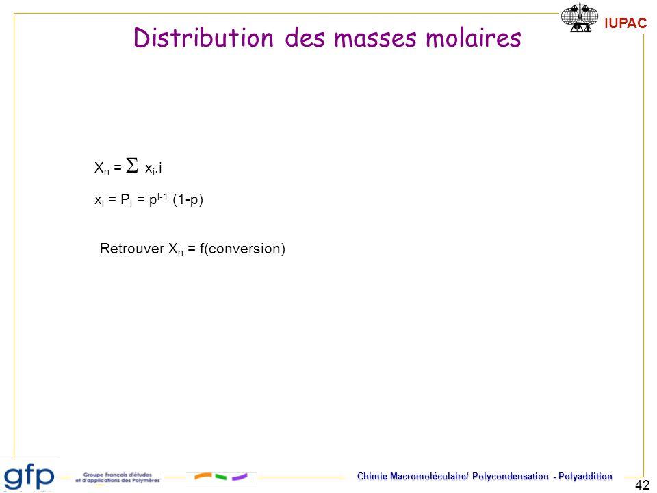 IUPAC Chimie Macromoléculaire/ Polycondensation - Polyaddition 42 x i = P i = p i-1 (1-p) X n = x i.i Retrouver X n = f(conversion) Distribution des m