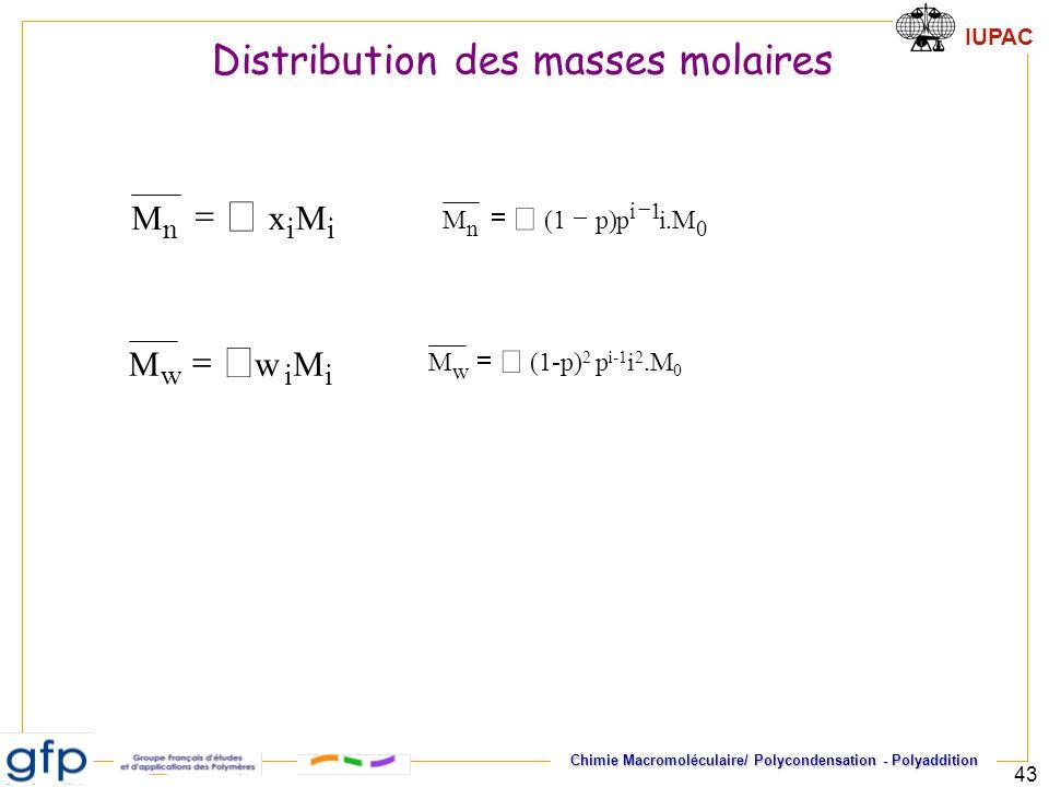 IUPAC Chimie Macromoléculaire/ Polycondensation - Polyaddition 43 iin MxM iiw MwM 0 1i n M.ip)p1(M w (1-p) 2 p i-1 i 2.M 0 M Distribution des masses m