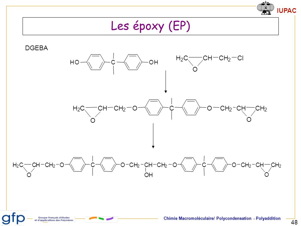 IUPAC Chimie Macromoléculaire/ Polycondensation - Polyaddition 48 Les époxy (EP) DGEBA COOCH 2 CHCH 2 CH 2 CH O H 2 C O CHOOH H 2 CCHCH 2 Cl O COOCH 2 CHCH 2 CH 2 CH OH H 2 C O COOCH 2 CHCH 2 O