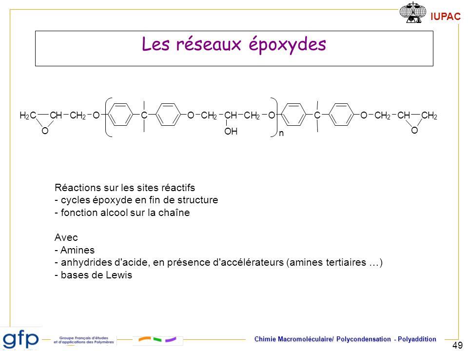 IUPAC Chimie Macromoléculaire/ Polycondensation - Polyaddition 49 Les réseaux époxydes COOCH 2 CHCH 2 CH 2 CH OH H 2 C O COOCH 2 CHCH 2 O n Réactions