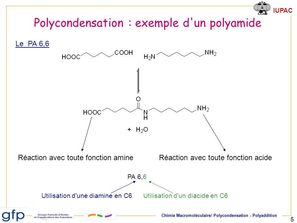 IUPAC Chimie Macromoléculaire/ Polycondensation - Polyaddition 5 Réaction avec toute fonction amineRéaction avec toute fonction acide Polycondensation