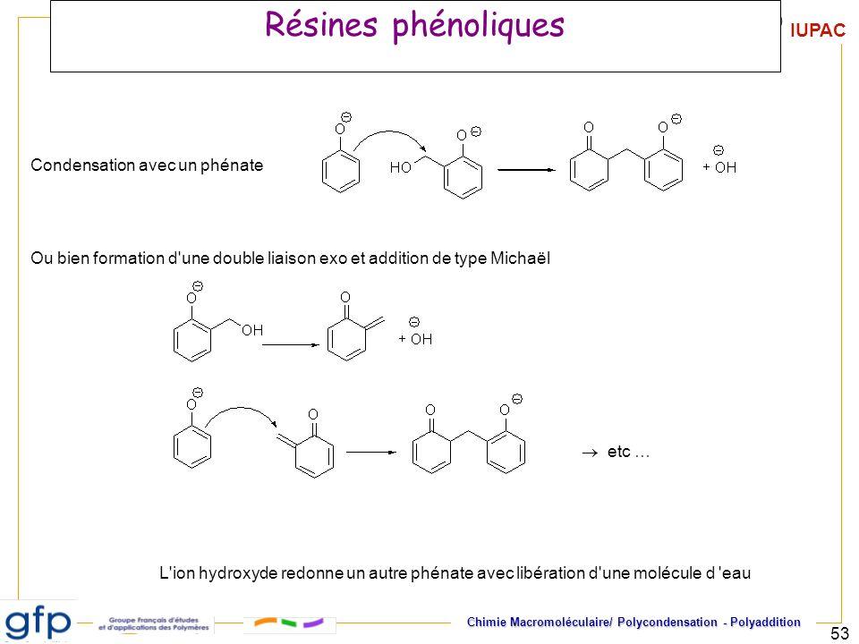 IUPAC Chimie Macromoléculaire/ Polycondensation - Polyaddition 53 Résines phénoliques Condensation avec un phénate L'ion hydroxyde redonne un autre ph