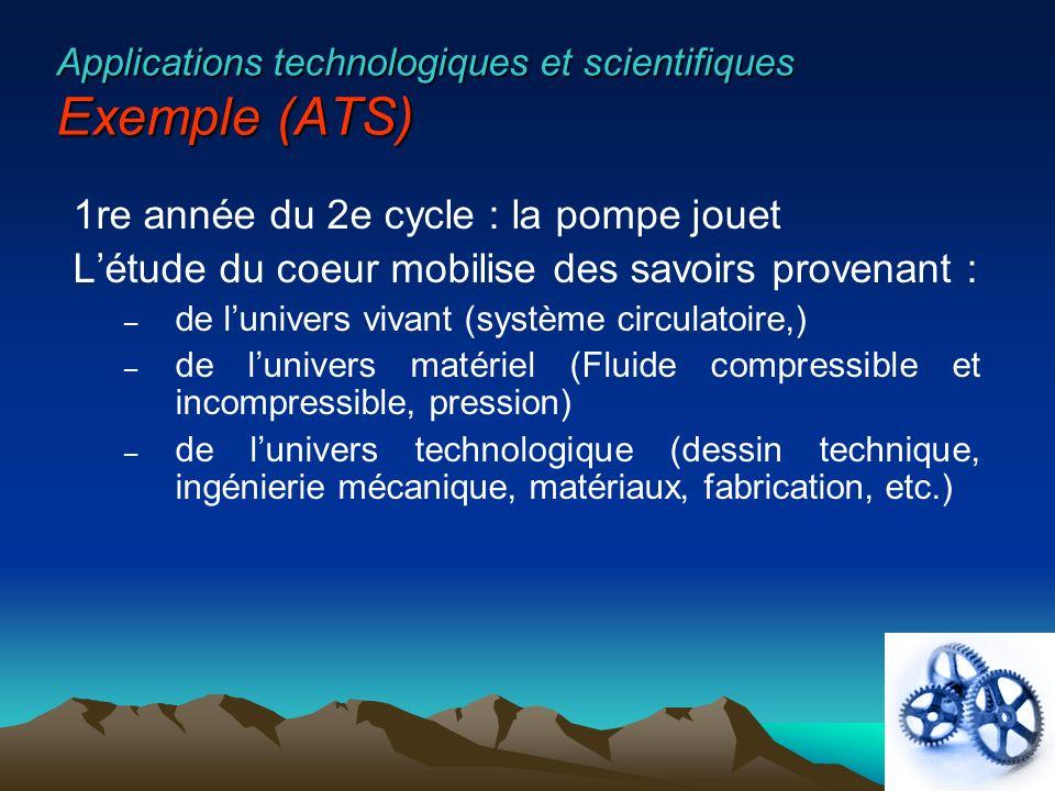 Applications technologiques et scientifiques Exemple (ATS) 1re année du 2e cycle : la pompe jouet Létude du coeur mobilise des savoirs provenant : – d