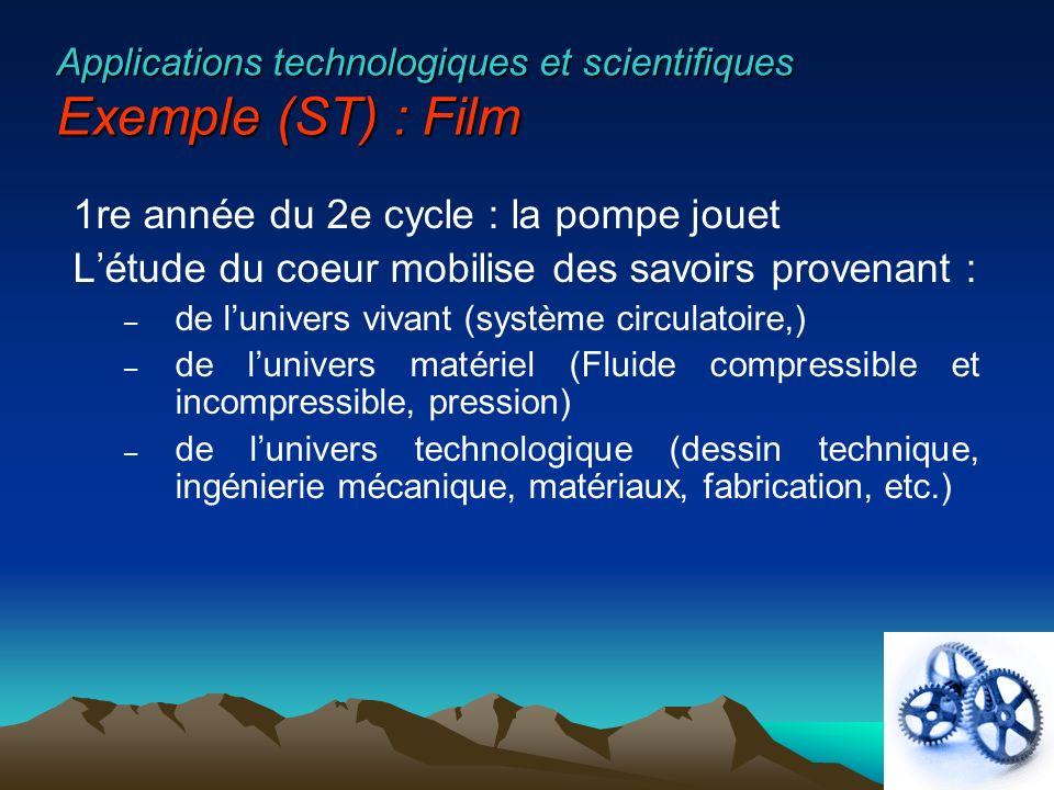 Applications technologiques et scientifiques Exemple (ST) : Film 1re année du 2e cycle : la pompe jouet Létude du coeur mobilise des savoirs provenant