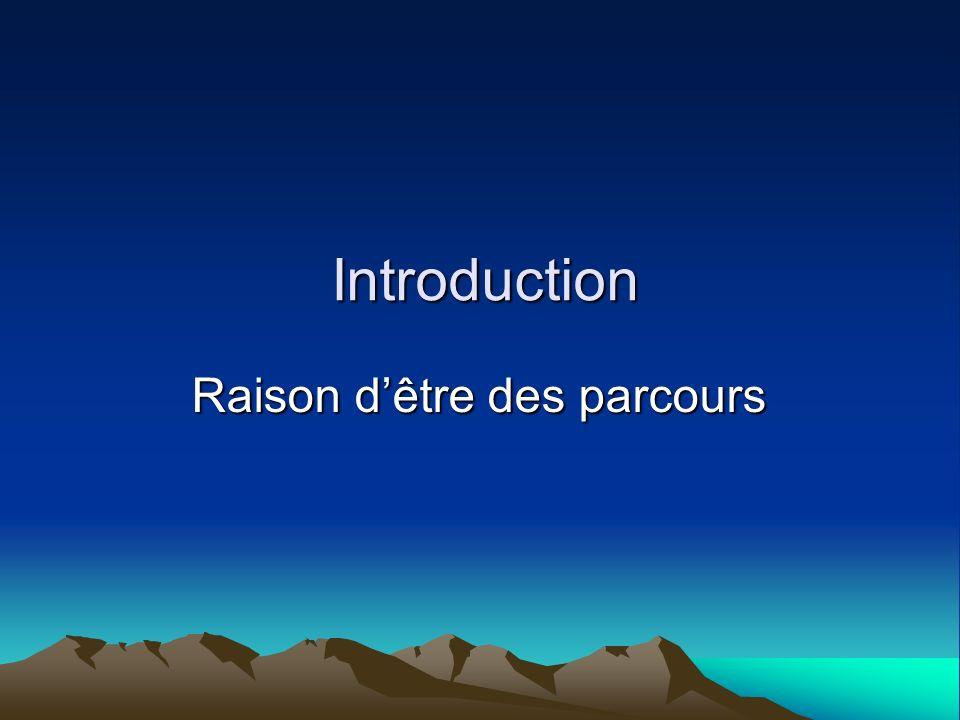 Introduction Raison dêtre des parcours