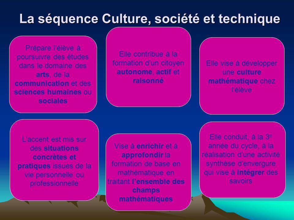 La séquence Culture, société et technique Prépare lélève à poursuivre des études dans le domaine des arts, de la communication et des sciences humaine