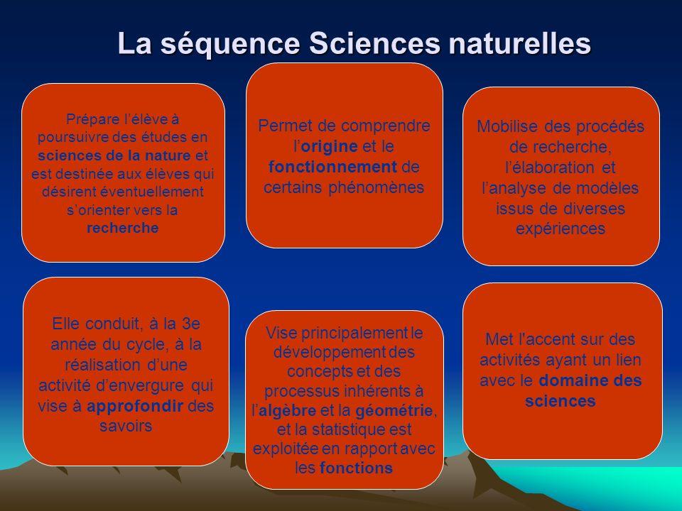 La séquence Sciences naturelles Prépare lélève à poursuivre des études en sciences de la nature et est destinée aux élèves qui désirent éventuellement