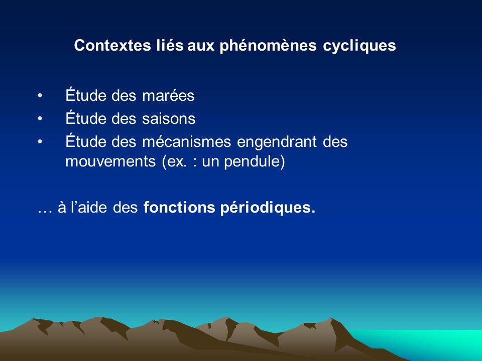 Contextes liés aux phénomènes cycliques Étude des marées Étude des saisons Étude des mécanismes engendrant des mouvements (ex. : un pendule) … à laide
