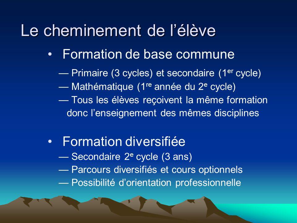 Le cheminement de lélève Formation de base commune Primaire (3 cycles) et secondaire (1 er cycle) Mathématique (1 re année du 2 e cycle) Tous les élèv