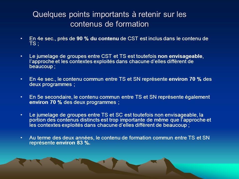 Quelques points importants à retenir sur les contenus de formation En 4e sec., près de 90 % du contenu de CST est inclus dans le contenu de TS ; Le ju