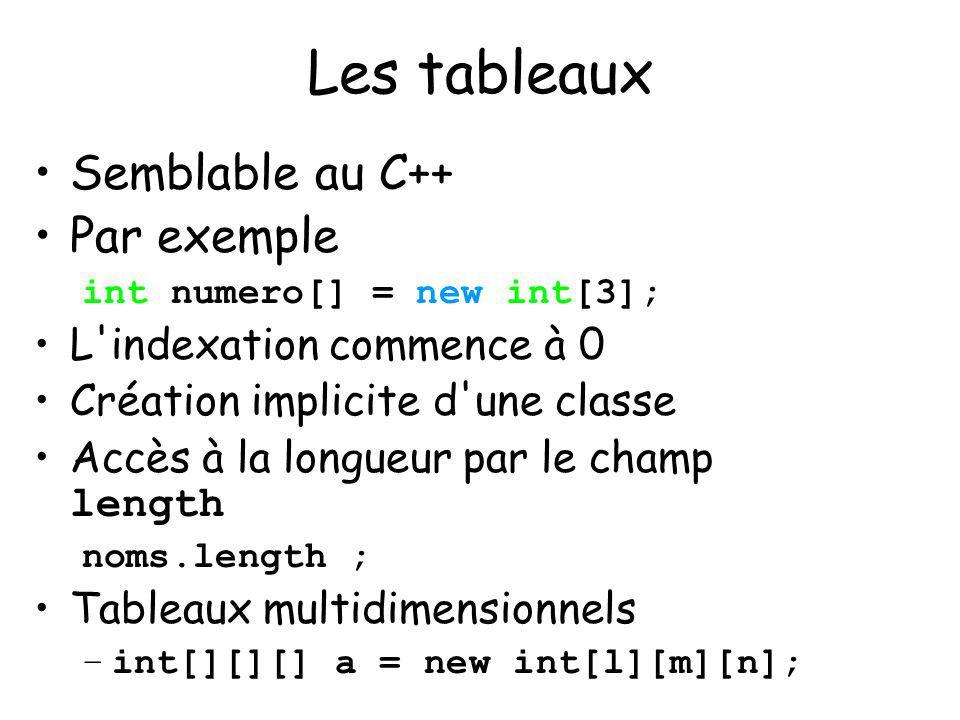 10 Les tableaux Semblable au C++ Par exemple int numero[] = new int[3]; L'indexation commence à 0 Création implicite d'une classe Accès à la longueur