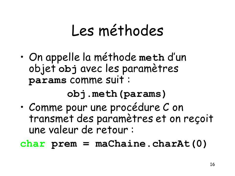 16 Les méthodes On appelle la méthode meth dun objet obj avec les paramètres params comme suit : obj.meth(params) Comme pour une procédure C on transm