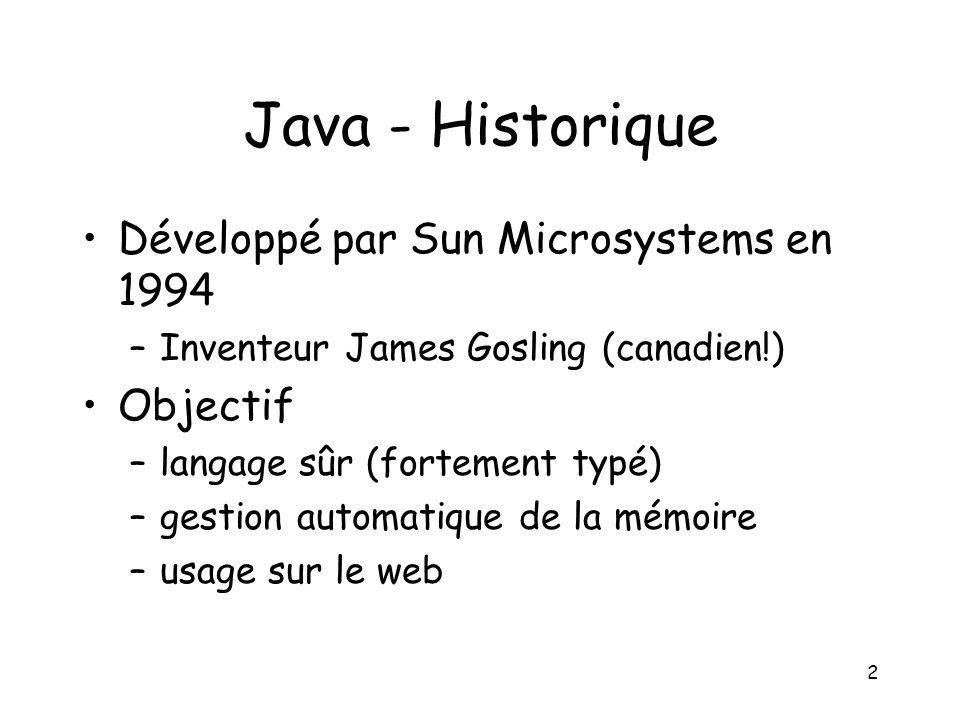 2 Java - Historique Développé par Sun Microsystems en 1994 –Inventeur James Gosling (canadien!) Objectif –langage sûr (fortement typé) –gestion automa