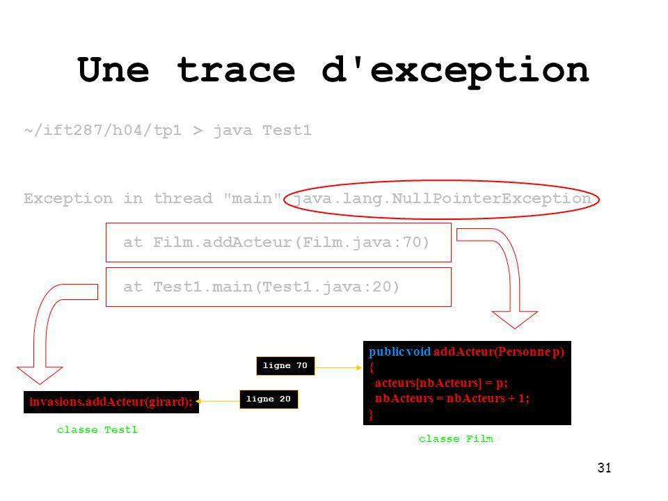 31 Une trace d exception ~/ift287/h04/tp1 > java Test1 Exception in thread main java.lang.NullPointerException at Film.addActeur(Film.java:70) at Test1.main(Test1.java:20) invasions.addActeur(girard); classe Test1 public void addActeur(Personne p) { acteurs[nbActeurs] = p; nbActeurs = nbActeurs + 1; } classe Film ligne 20ligne 70