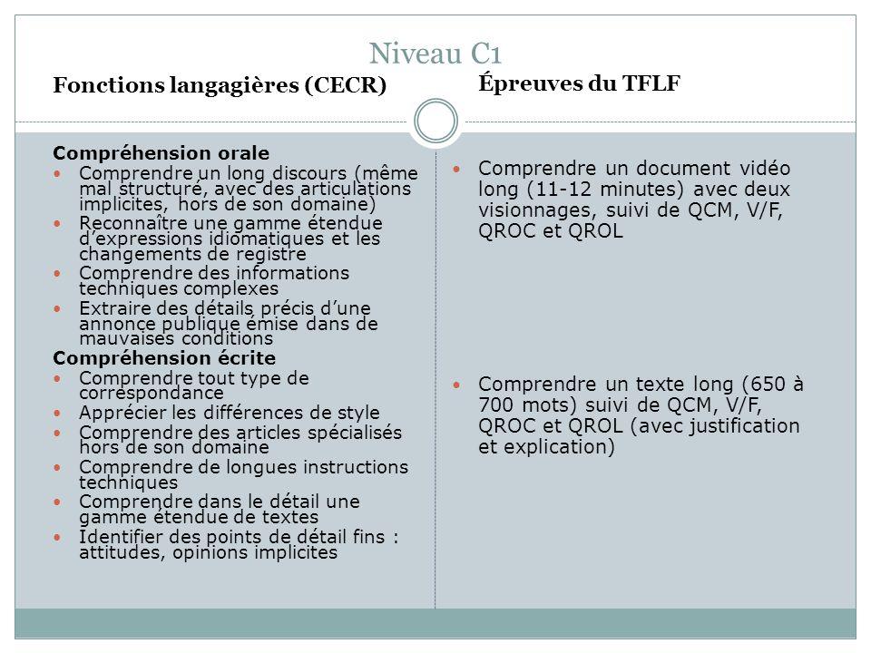 Niveau C1 Fonctions langagières (CECR) Compréhension orale Comprendre un long discours (même mal structuré, avec des articulations implicites, hors de
