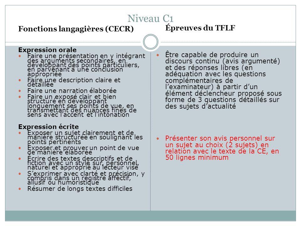 Niveau C1 Fonctions langagières (CECR) Expression orale Faire une présentation en y intégrant des arguments secondaires, en développant des points par