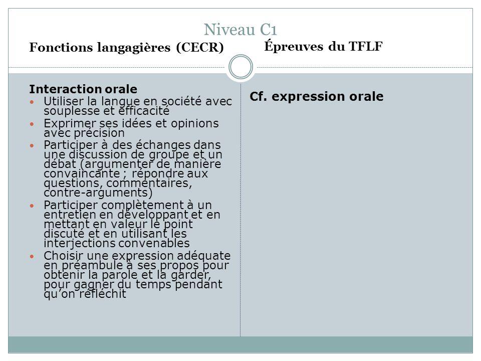 Niveau C1 Fonctions langagières (CECR) Interaction orale Utiliser la langue en société avec souplesse et efficacité Exprimer ses idées et opinions ave