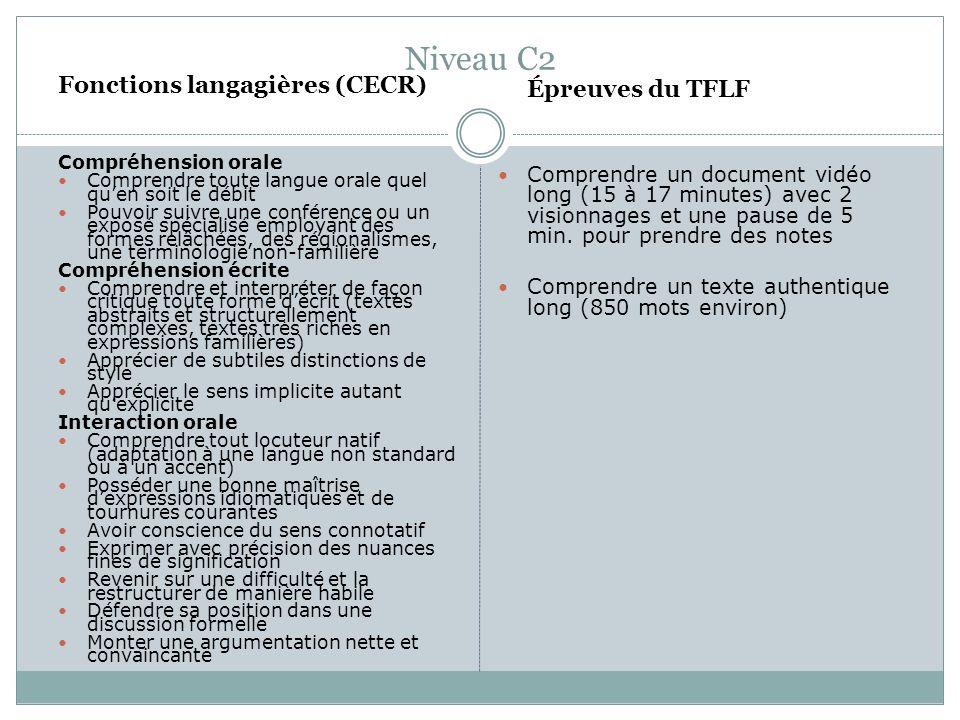 Niveau C2 Fonctions langagières (CECR) Compréhension orale Comprendre toute langue orale quel quen soit le débit Pouvoir suivre une conférence ou un e