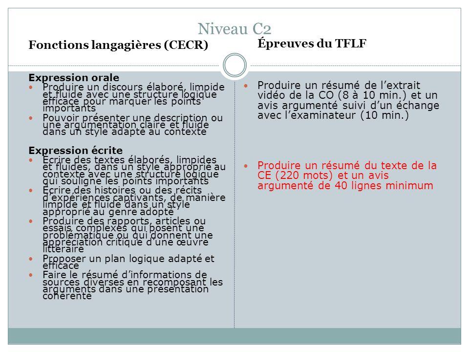 Niveau C2 Fonctions langagières (CECR) Expression orale Produire un discours élaboré, limpide et fluide avec une structure logique efficace pour marqu