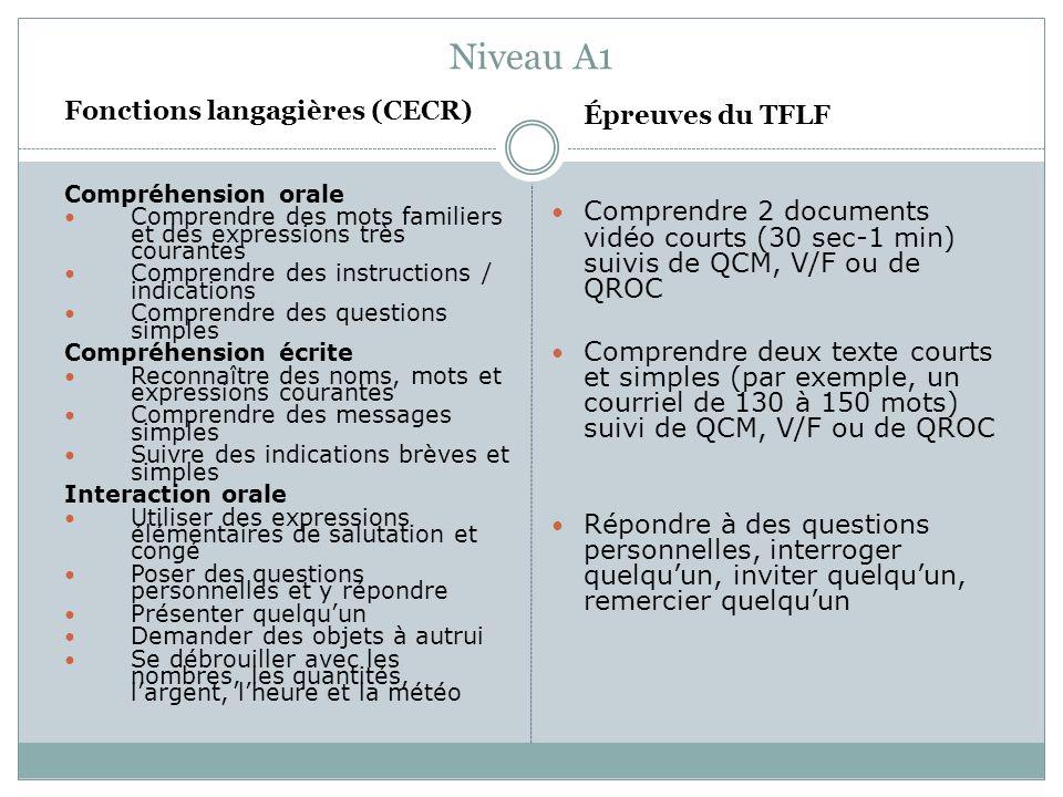 Niveau A1 Fonctions langagières (CECR) Compréhension orale Comprendre des mots familiers et des expressions très courantes Comprendre des instructions