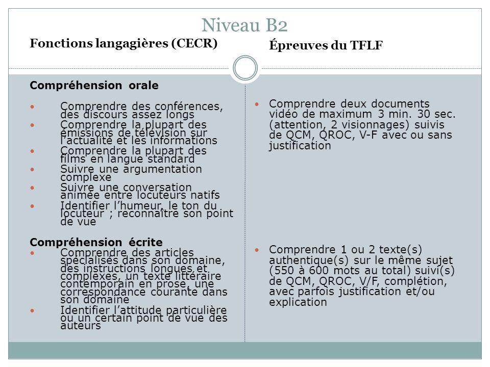 Niveau B2 Fonctions langagières (CECR) Compréhension orale Comprendre des conférences, des discours assez longs Comprendre la plupart des émissions de