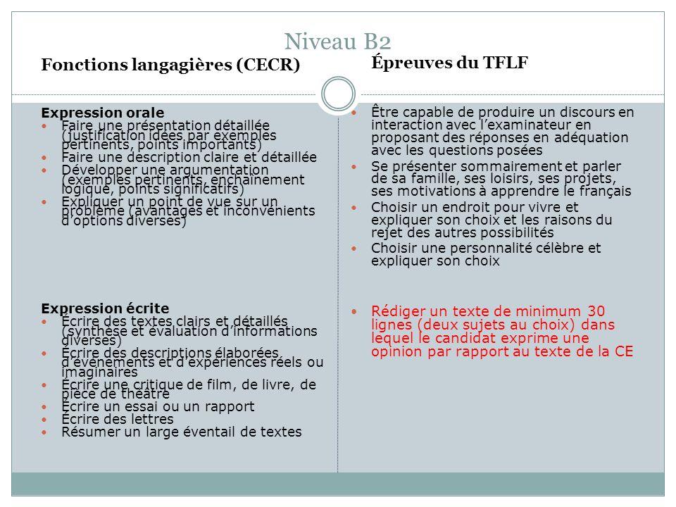 Niveau B2 Fonctions langagières (CECR) Expression orale Faire une présentation détaillée (justification idées par exemples pertinents, points importan