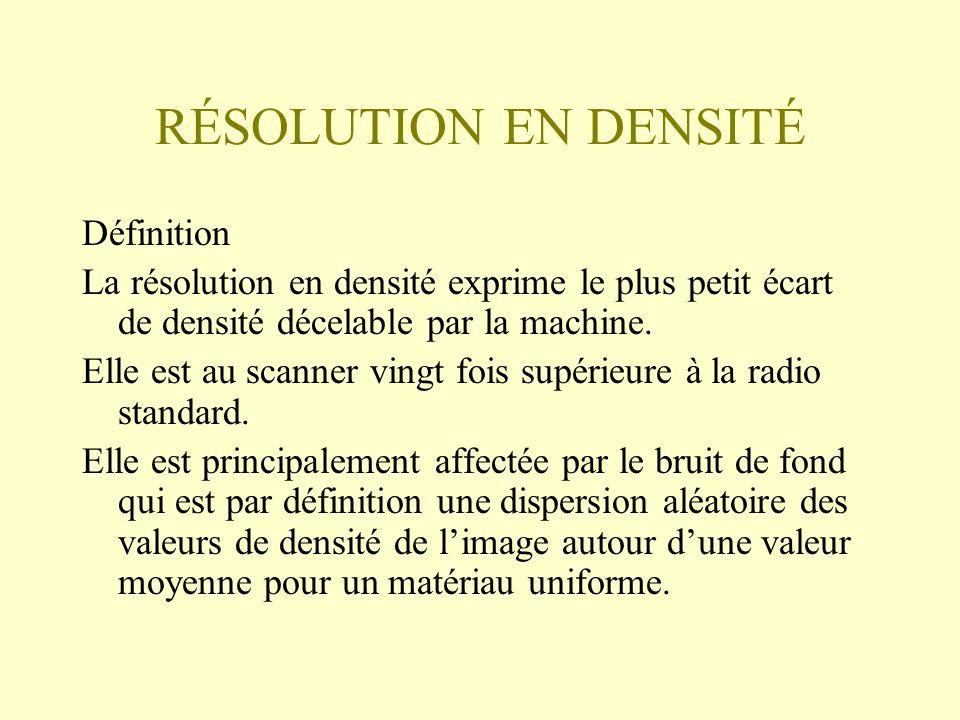 RÉSOLUTION EN DENSITÉ Définition La résolution en densité exprime le plus petit écart de densité décelable par la machine. Elle est au scanner vingt f