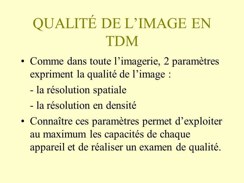QUALITÉ DE LIMAGE EN TDM Comme dans toute limagerie, 2 paramètres expriment la qualité de limage : - la résolution spatiale - la résolution en densité