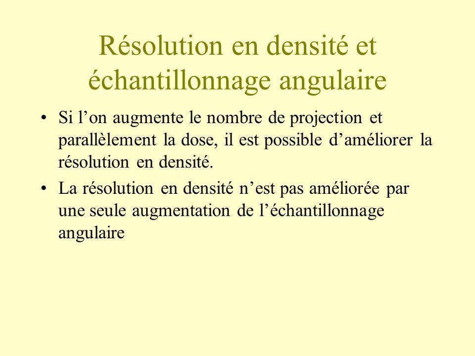 Résolution en densité et échantillonnage angulaire Si lon augmente le nombre de projection et parallèlement la dose, il est possible daméliorer la rés