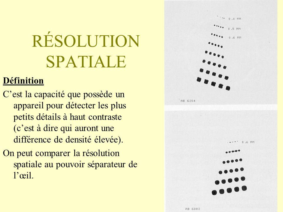 RÉSOLUTION SPATIALE Définition Cest la capacité que possède un appareil pour détecter les plus petits détails à haut contraste (cest à dire qui auront