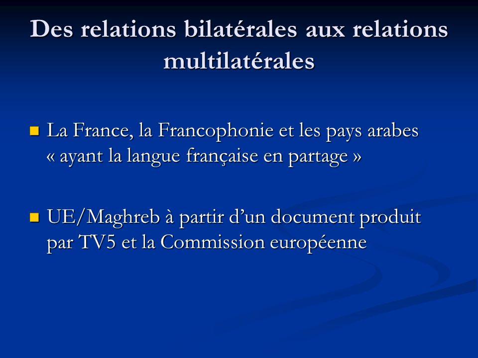 Des relations bilatérales aux relations multilatérales La France, la Francophonie et les pays arabes « ayant la langue française en partage » La France, la Francophonie et les pays arabes « ayant la langue française en partage » UE/Maghreb à partir dun document produit par TV5 et la Commission européenne UE/Maghreb à partir dun document produit par TV5 et la Commission européenne