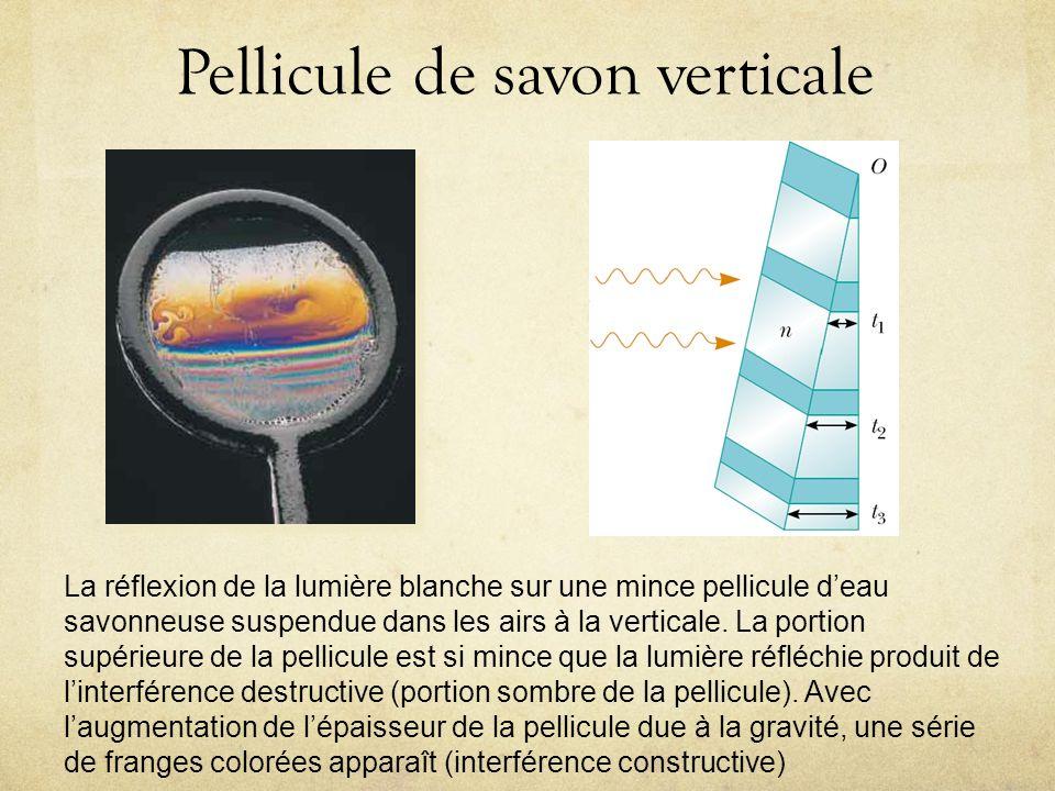 Pellicule de savon verticale Au fur et à mesure que la région supérieure dune pellicule de savon verticale samincit, elle apparaît sombre dans la lumière réfléchie.