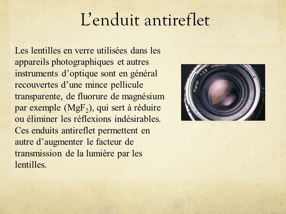 Lenduit antireflet Les lentilles en verre utilisées dans les appareils photographiques et autres instruments doptique sont en général recouvertes dune