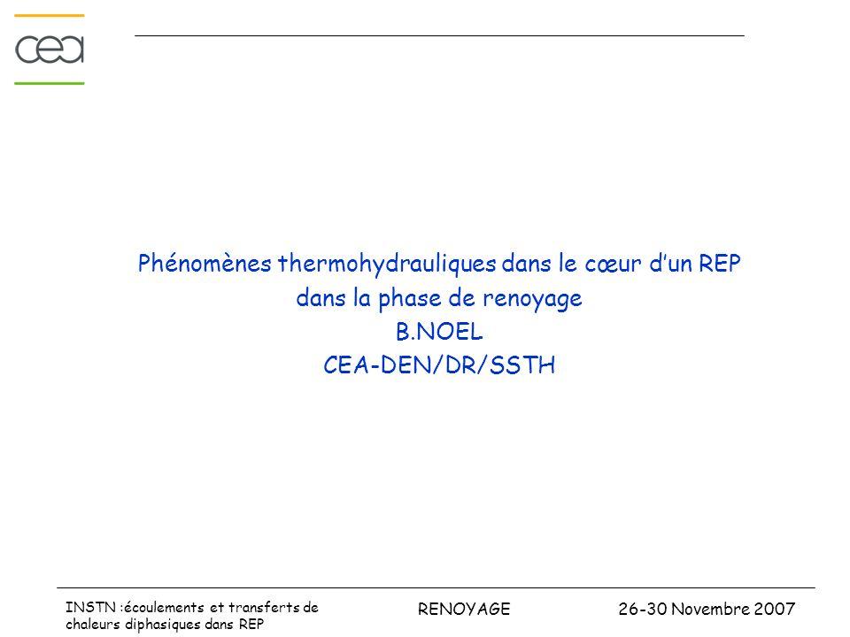 26-30 Novembre 2007RENOYAGE INSTN :écoulements et transferts de chaleurs diphasiques dans REP Phénomènes thermohydrauliques dans le cœur dun REP dans