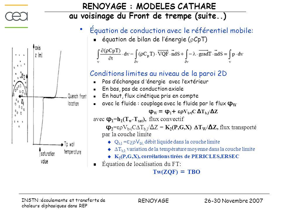 26-30 Novembre 2007RENOYAGE INSTN :écoulements et transferts de chaleurs diphasiques dans REP RENOYAGE : MODELES CATHARE au voisinage du Front de trem