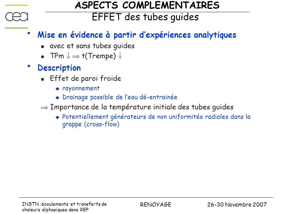 26-30 Novembre 2007RENOYAGE INSTN :écoulements et transferts de chaleurs diphasiques dans REP ASPECTS COMPLEMENTAIRES EFFET des tubes guides Mise en é