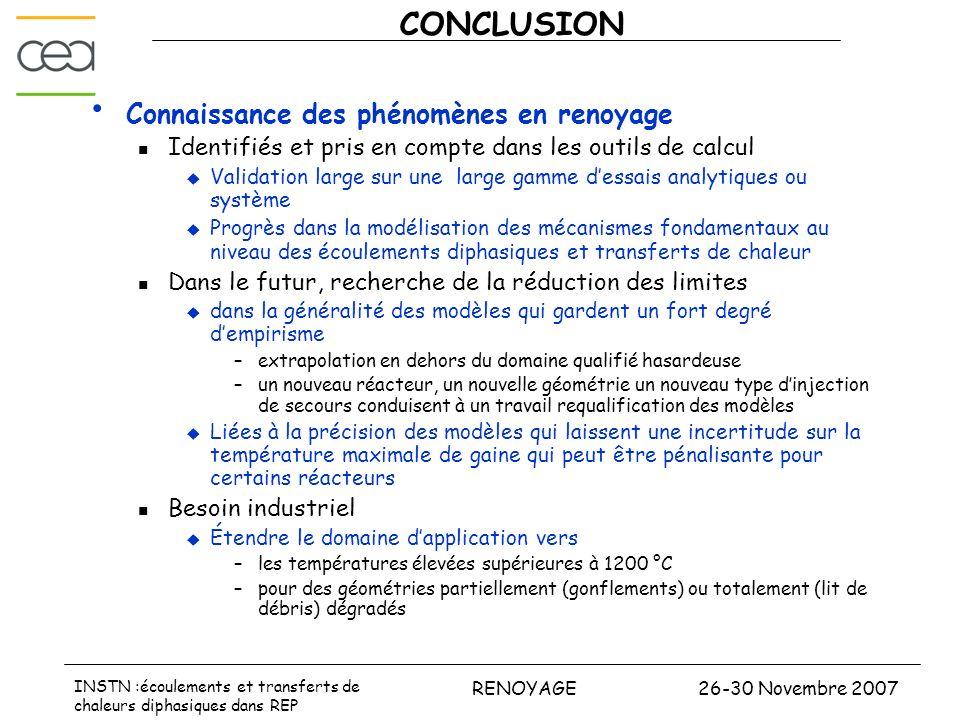 26-30 Novembre 2007RENOYAGE INSTN :écoulements et transferts de chaleurs diphasiques dans REP CONCLUSION Connaissance des phénomènes en renoyage Ident
