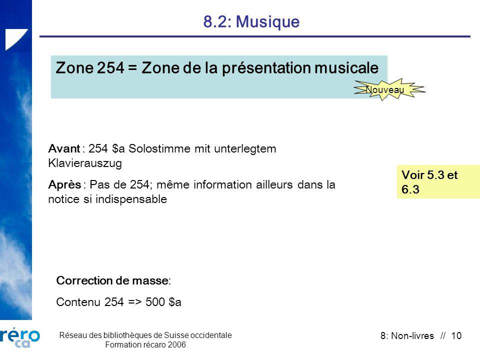Réseau des bibliothèques de Suisse occidentale Formation récaro 2006 8: Non-livres // 10 8.2: Musique Voir 5.3 et 6.3 Zone 254 = Zone de la présentati