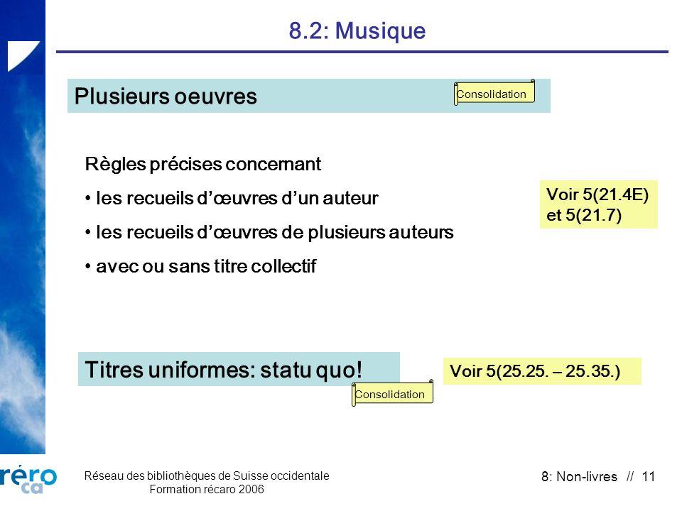 Réseau des bibliothèques de Suisse occidentale Formation récaro 2006 8: Non-livres // 11 8.2: Musique Voir 5(21.4E) et 5(21.7) Plusieurs oeuvres Règle