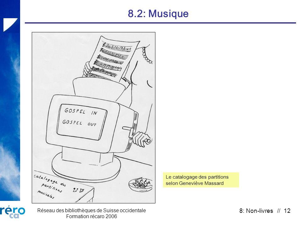 Réseau des bibliothèques de Suisse occidentale Formation récaro 2006 8: Non-livres // 12 8.2: Musique Le catalogage des partitions selon Geneviève Massard