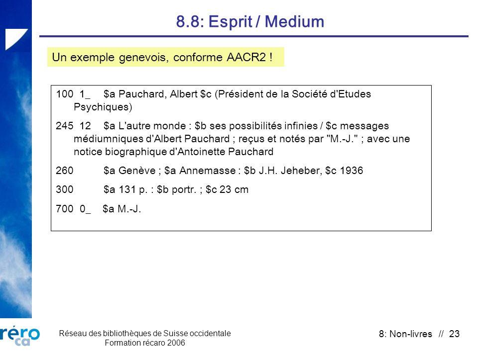 Réseau des bibliothèques de Suisse occidentale Formation récaro 2006 8: Non-livres // 23 8.8: Esprit / Medium 100 1_ $a Pauchard, Albert $c (Président