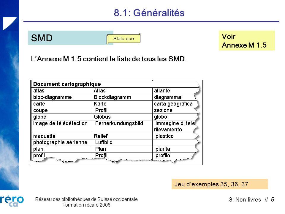 Réseau des bibliothèques de Suisse occidentale Formation récaro 2006 8: Non-livres // 5 8.1: Généralités Voir Annexe M 1.5 SMD LAnnexe M 1.5 contient la liste de tous les SMD.