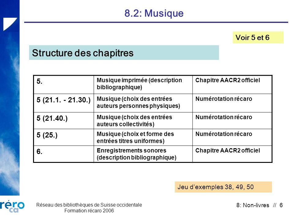 Réseau des bibliothèques de Suisse occidentale Formation récaro 2006 8: Non-livres // 6 8.2: Musique Voir 5 et 6 Structure des chapitres 5.