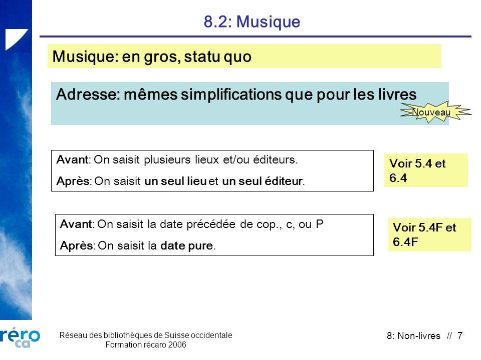 Réseau des bibliothèques de Suisse occidentale Formation récaro 2006 8: Non-livres // 7 8.2: Musique Voir 5.4 et 6.4 Adresse: mêmes simplifications qu