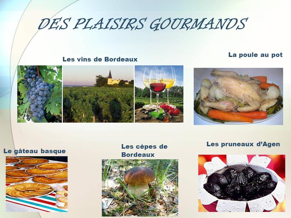 DES PLAISIRS GOURMANDS La poule au pot Les pruneaux dAgen Les vins de Bordeaux Le gâteau basque Les cèpes de Bordeaux